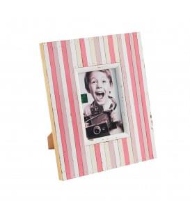 Portafoto madera 10x15 rayas rosa