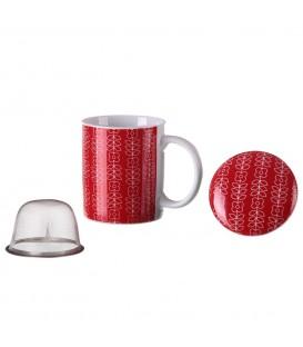 Taza mug tapa/filtro Flowers rojo
