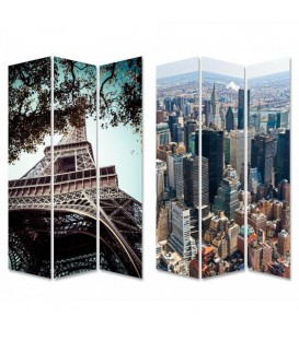 "Biombo ""Paris-New York"" 120x2,50x180 cm"