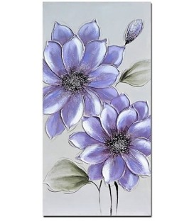 Pintura flores malva 3x40x80 cm