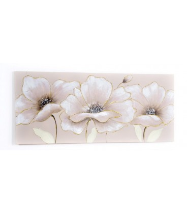 Cuadro Flores Beige 140x60 cm