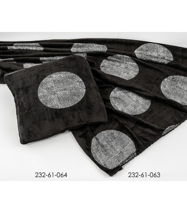 Manta negra circulos plata 130*160 cm