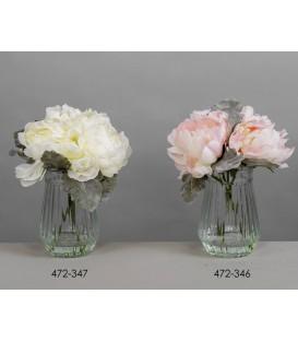 Jarrón c/arreglo floral peonias 27 cm