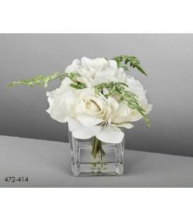 Jarrón c/arreglo rosas blancas 19 cm