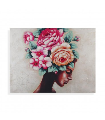 Cuadro mujer c/flores 120x90 cm