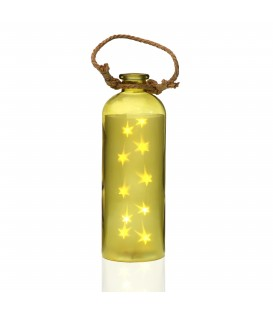 "Botella led dorada ""Estrellas"""