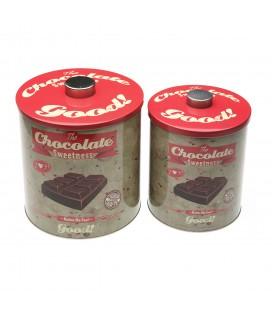 "S/2 Botes ""Chocolate"" metal"