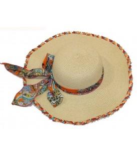 Sombrero beige c/pañuelo
