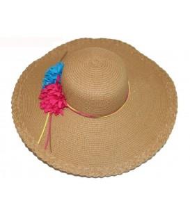 Sombrero beige flores rojo-azul