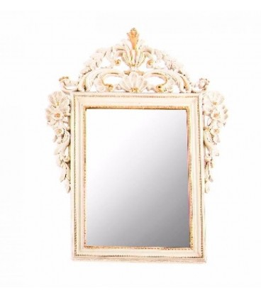Espejo pared resina 65x50x3 cm blanco envejecido