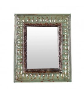 Espejo verde madera 25,64 x 4 x 30,72 cm