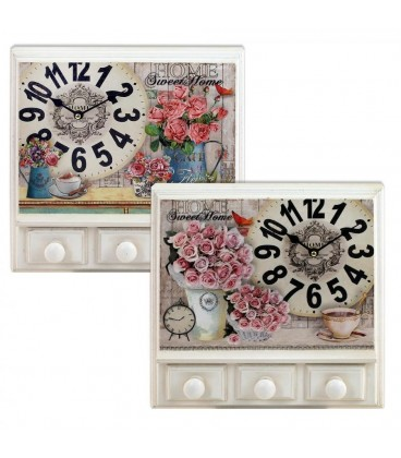 Reloj pared c/percha 3 pomos 31,5x31,5x7,5 cm
